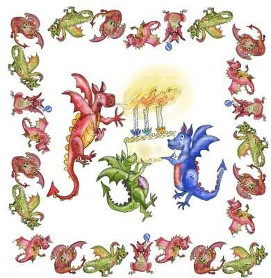 Three birthday dragons