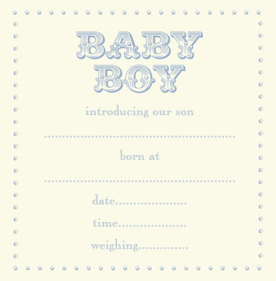 Baby birth announcement cards (blue) - pack of 8 + envelopes