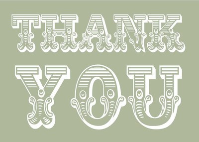 Circus thank you (white on green)