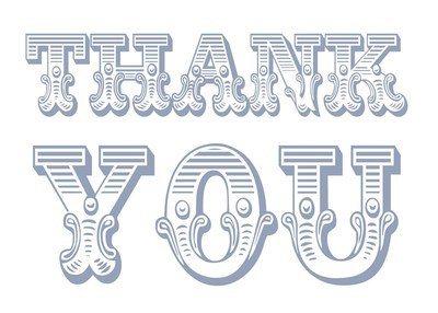 Circus thank you (blue on white)