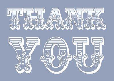 Circus thank you (white on blue)