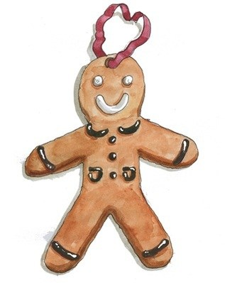 Gingerbread man - pack of Christmas cards