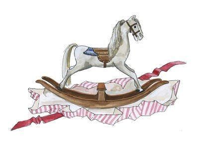 Rocking horse - pack of Christmas cards