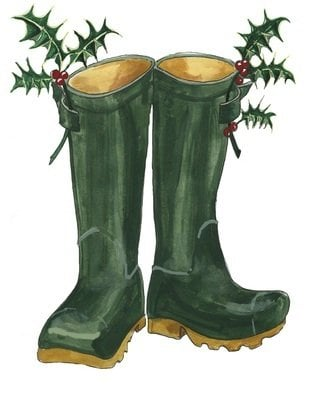 Christmas wellies - pack of Christmas cards