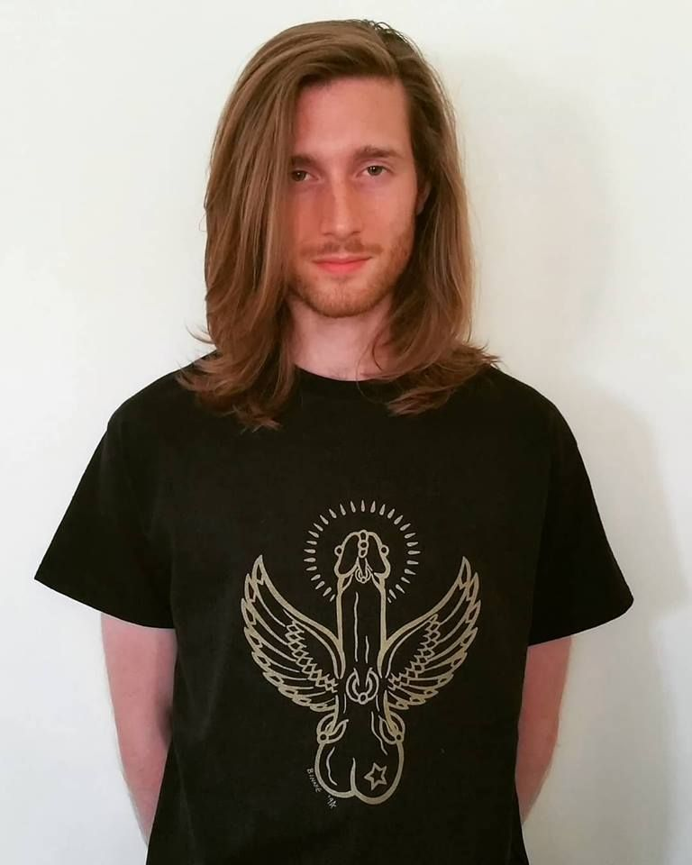 Iconic Flying Cock Tee shirt Gold print on Black Size L