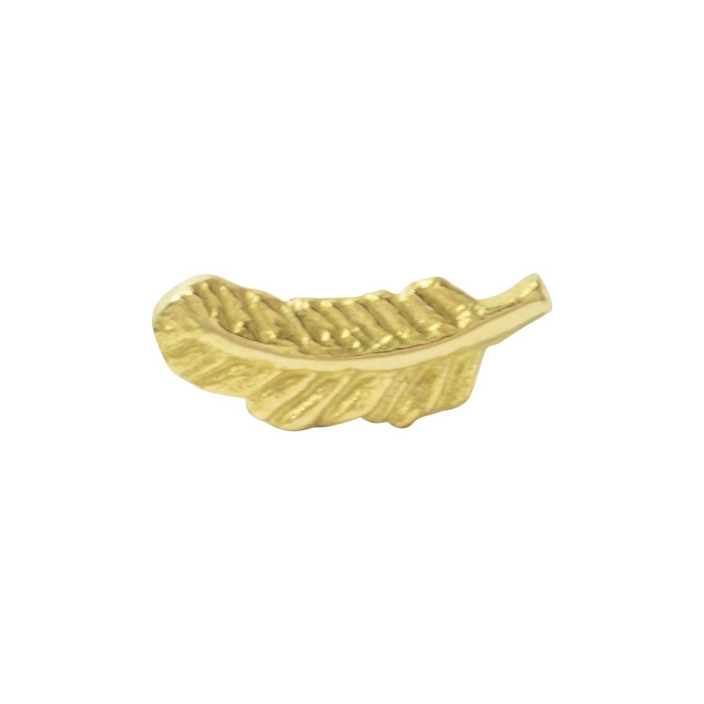 Feather push fit, 18 carat yellow gold, front only