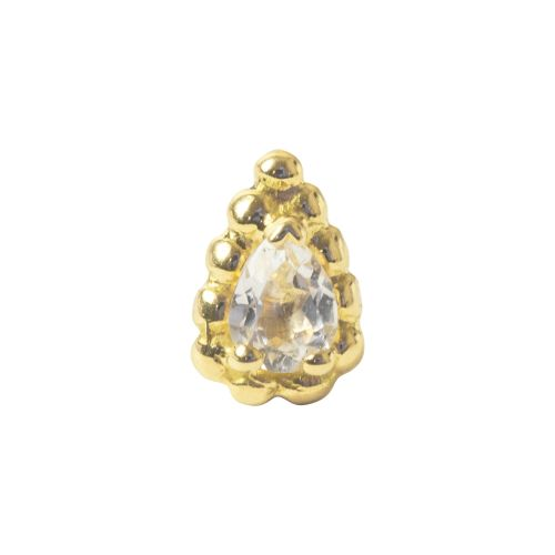 Ashru, 18 carat yellow gold set with white topaz, Front only.