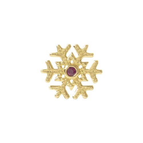 Snowflake, 18 Carat Yellow, solid Gold, front only