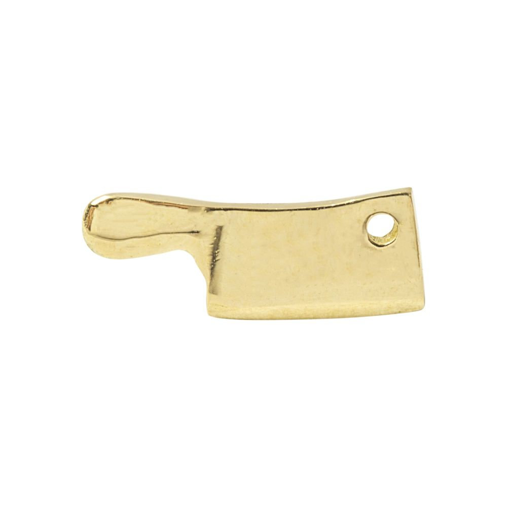 Meat Cleaver, 18 carat Yellow Solid Gold, Front Only.