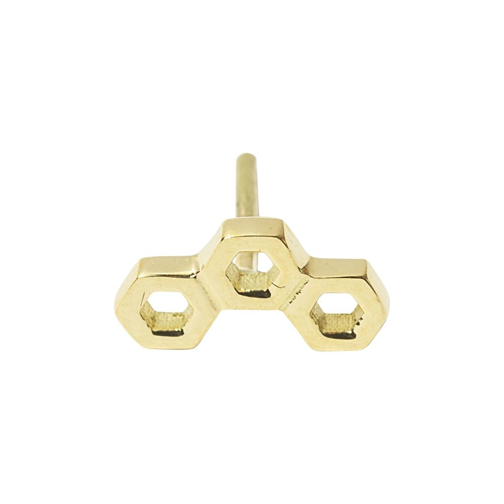 Honeycomb, 18 Carat Yellow Solid Gold.  Front only
