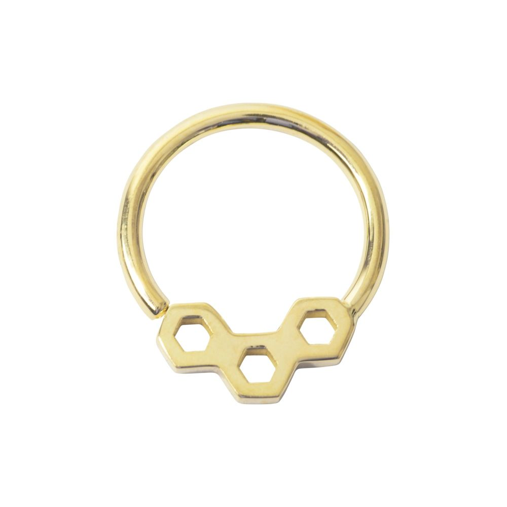 Honeycomb, 18 Carat Yellow Solid Gold Seam Ring