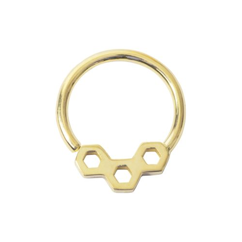 Honeycomb, 18 Carat Yellow Solid Gold Seam Ring