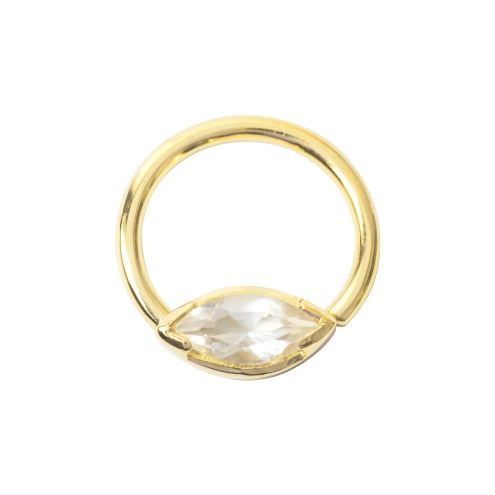 Marquise Seam Ring, 18 Carat Yellow Solid Gold, 1.2 mm, 16 g