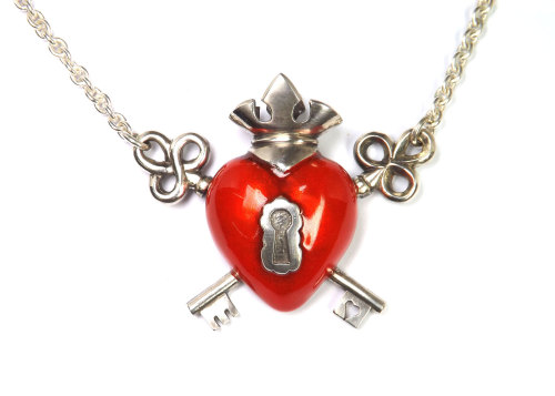 Crown heart and keys, silver and enamel necklace