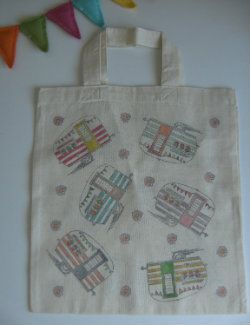 Small Reusable Cotton Shopping Bag with Caravan design