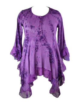Dramatic purple FAE gorgeous tye dye frills top