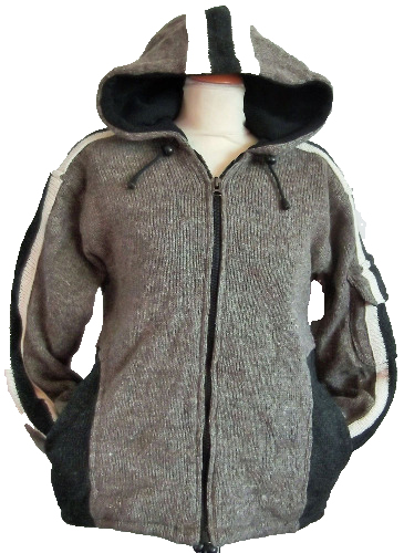 Fleece lined ,100% wool jacket from Nepal, with sleeve pocket [36-40 chest]