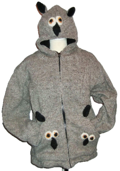 Fab and funky animal fleece lined woolie from Nepal [38-42 approx chest/bust]
