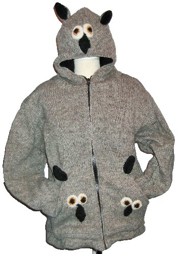 Fab and funky animal fleece lined woolie from Nepal [38-42 approx chest/bus
