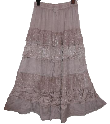 STEVIE WATERFALL HIPPY/BOHO SKIRT  [light tan colour]