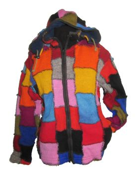Over locked  rainbow patchwork woolie , removable hood (chest / bust =approx 34-38 inches)