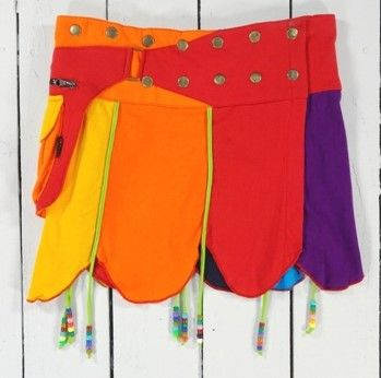 Funky rainbow popper pocket skirt