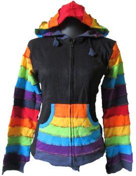 Nepal overlock shortie rainbow stripe hippy hoody