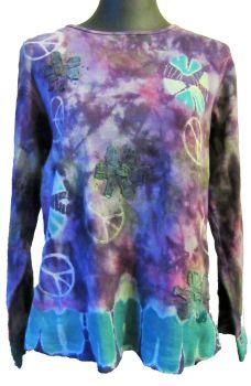 Funky tie dye stretchy hippy top ,Gringo [generous sizes]