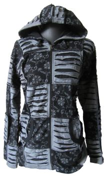 Gorgeous floral design patchwork razor cut hooded jacket