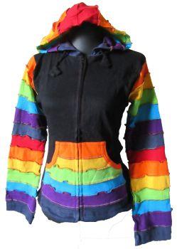 Funky hippy, festival  rainbow sleeve . hooded jacket