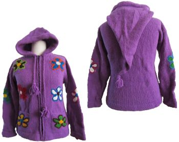 Funky pixie flower hooded jacket