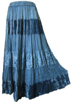 Stonewash tiered hippy, boho skirt