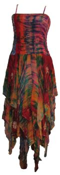 Tianna long tie dye sequined and gem silk faery dress [plus size] 18-24