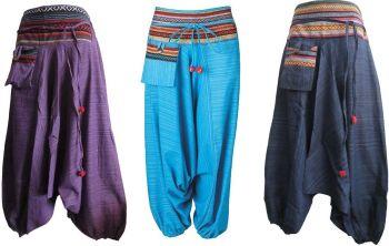 Harem tribal trimmed pocket pom pom trousers