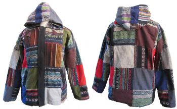 Hooded patchwork jacket ,fleece lined [38-44 inches bust/chest]