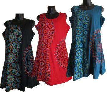 Sleeveless print and embroidery Tia dress
