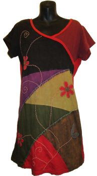 Gorgeous patchwork front appique dress