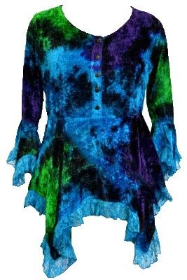 Gorgeous velvety tie dye fae top with lace