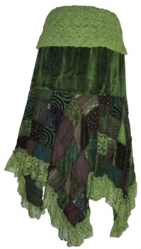 Gorgeous velvety and lace patchwork skirt