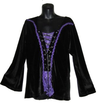 Velvety stretchy gothic top , Bares
