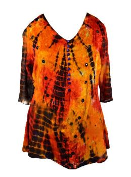 Flame tie dye mirrored hippy, fae top