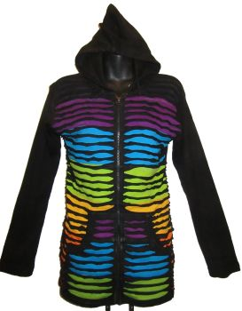 Funky hippy, festival stonewash ,rainbow- razor cut hooded jacket