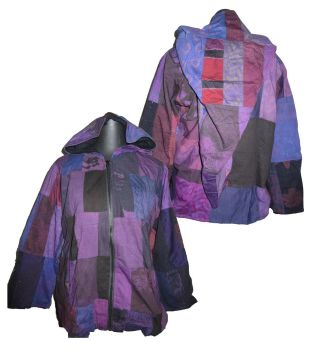 Gorgeous festival patchwork lined jacket with large pixie hood [40-44 inches bust approx ]