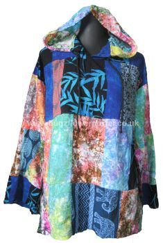 Funky patchwork cotton hoody