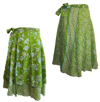 Reversible silk wrapover skirt approx 31 inches length