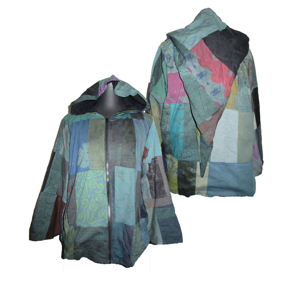 Gorgeous festival patchwork lined jacket with large pixie hood [42-48 inche