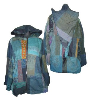 Gorgeous festival patchwork lined jacket with large pixie hood [42-46 inches bust approx ]