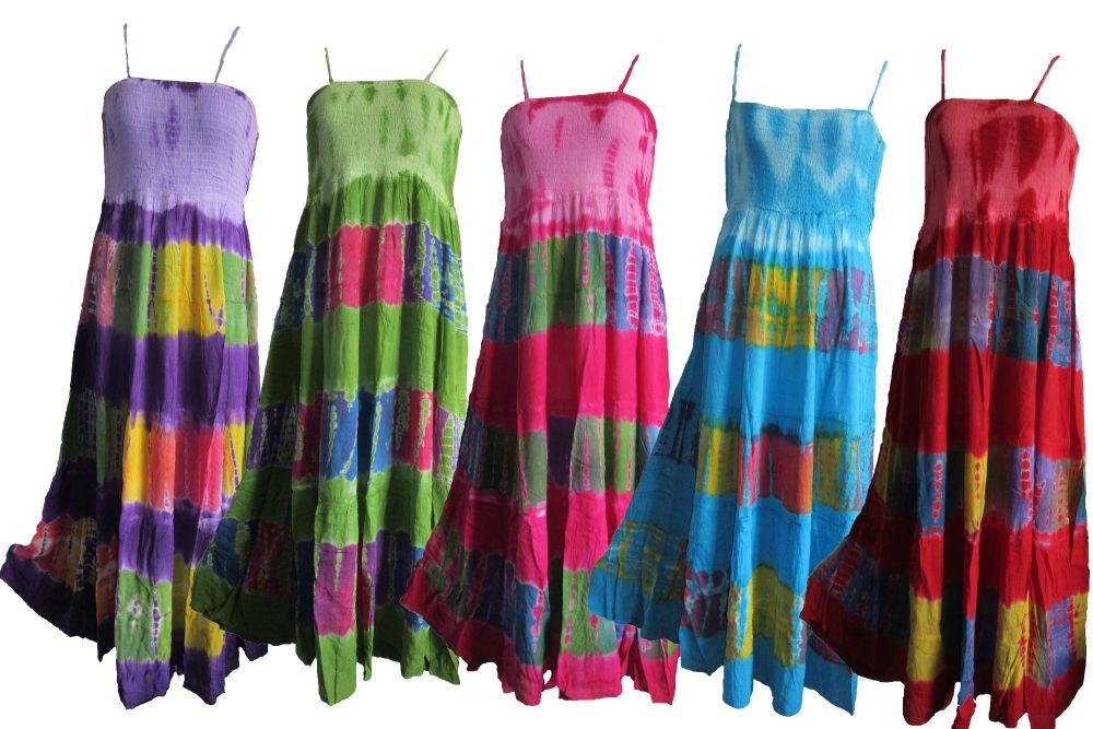 Strappy maxi tie dye hippy dress
