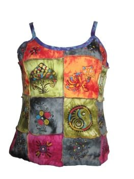 Hippy, festival patchwork hand painted top