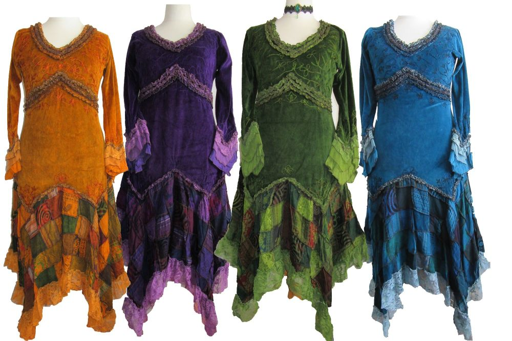 Velvety and lacey patchwork fae dress